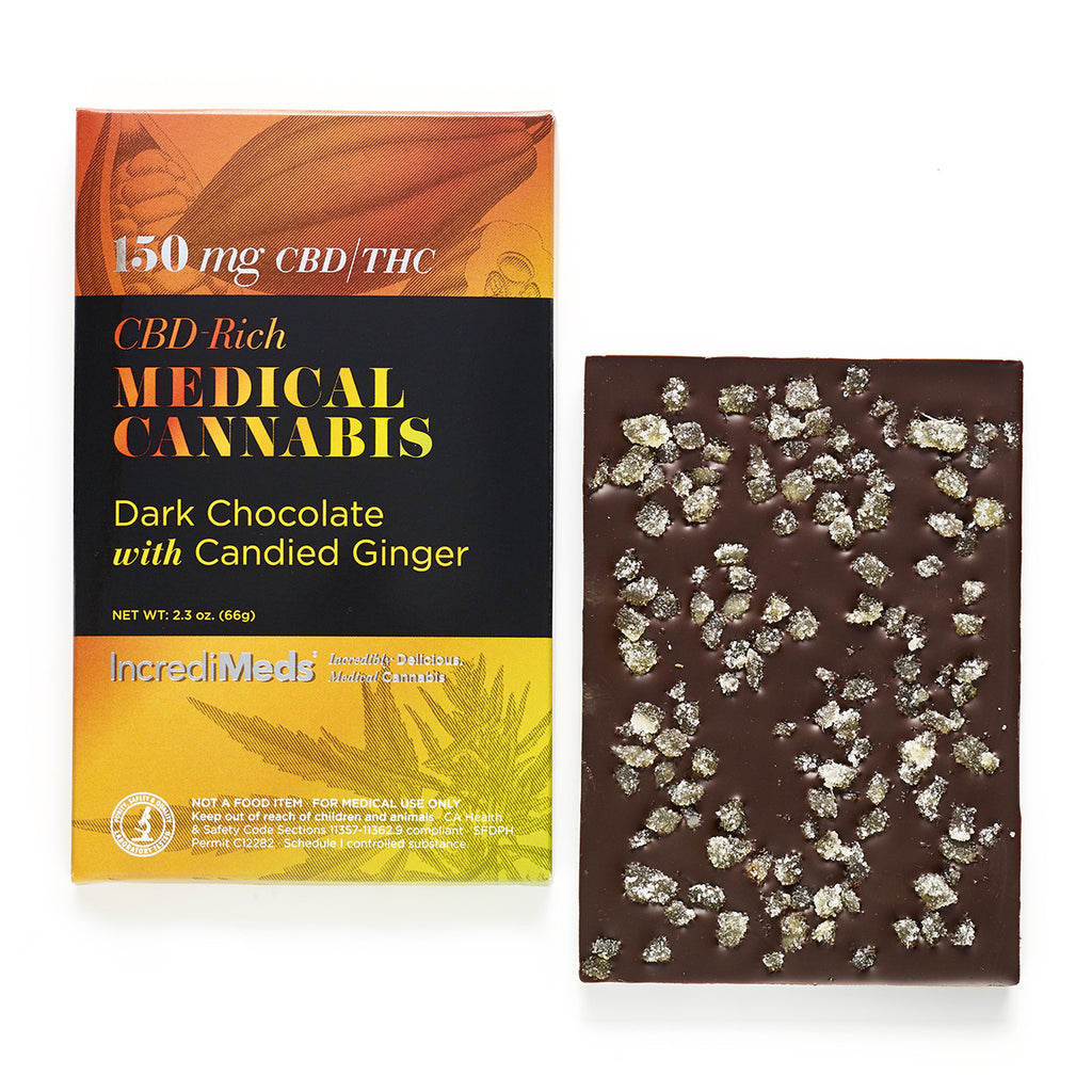 1:1 CBD Dark Chocolate Bar with Candied Ginger