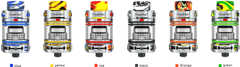 A row of different coloured resin and stainless steel Fireluke 3 sub ohm tanks