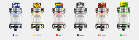 M Pro 2 tanks in all available colours. Picture also shows adjustable airflow and resin drip tips