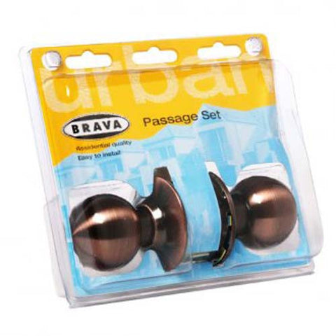 Brava Urban Passage Knob Set, Cylindrical Fixing - Antique Copper [BRC3930DP]