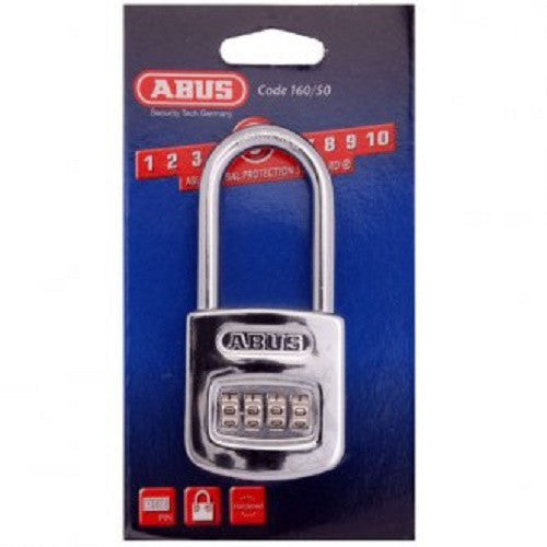 Abus 160/50 Extended Shackle Chrome Combination Padlock