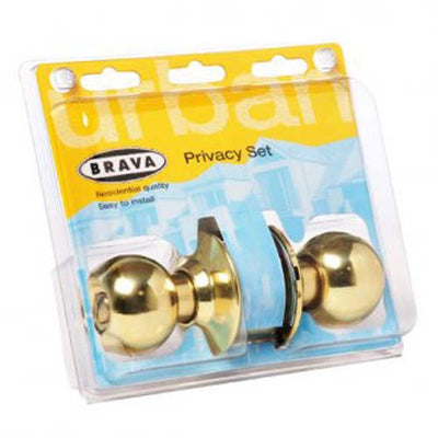 Brava Urban Privacy Knob Set, Cylindrical Fixing - Polished Brass [BRC3710DP]