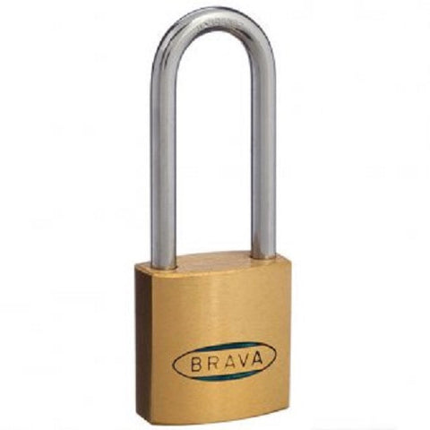 Brava 30mm Pack of Two Brass Extended Shackle Padlock - Keyed Alike [BRP3045KAx2]