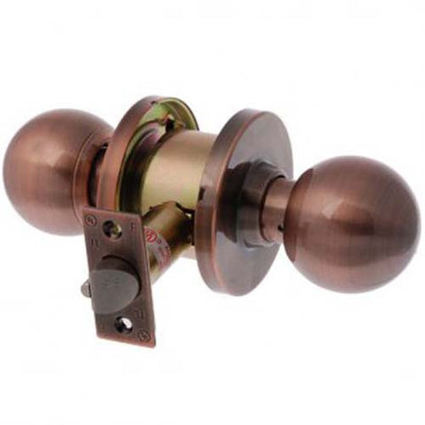 Brava Metro Passage Knob Set, Cylindrical Fixing - Antique Copper 70mm Backset [EA3782AC70]