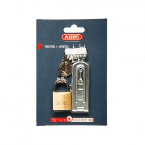 Abus Hasp & Staple & Padlock 100/80 Plus 65/30 Carded