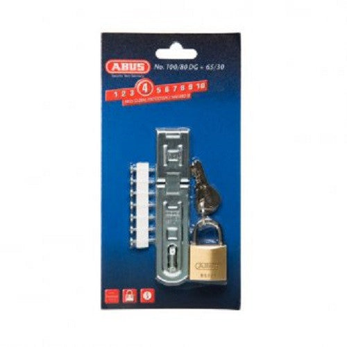 Abus Hasp & Staple & Padlock 100/80DG Plus 65/30 Carded