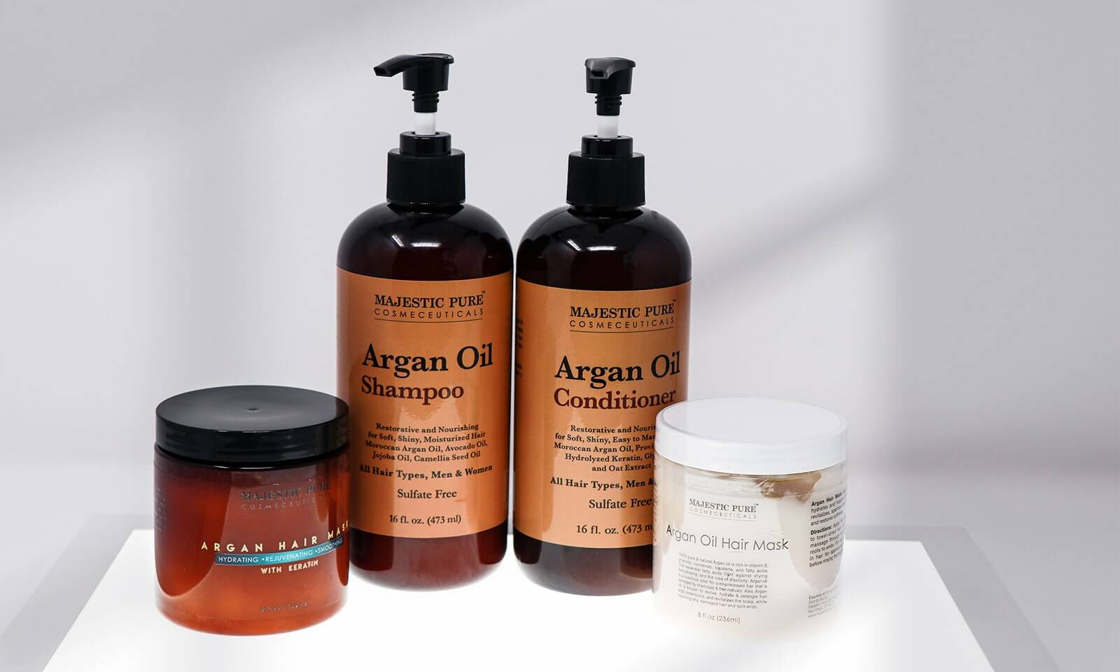 Majestic Pure Argan Oil products for hair includes hair masks, shampoo and conditioner