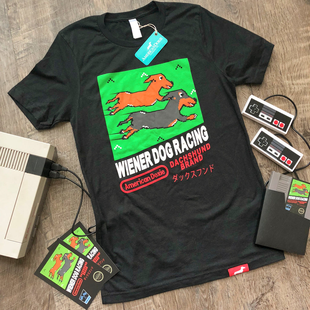 8-Bit Retro Wiener Dog Racing Game Tee shirt