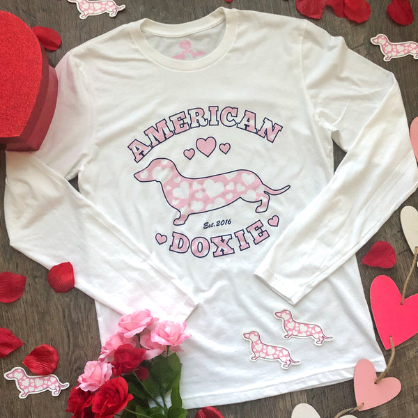 """NEW"" American Doxie Valentine's Day Long Sleeve Tee Shirt (Limited Release)"