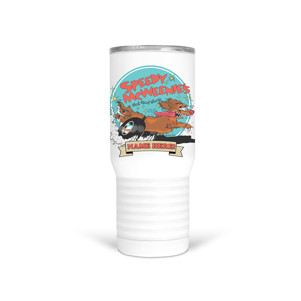 """NEW"" AD Speedy McWeenie PERSONALIZED 20oz Tumbler Cup (Long Haired - Various Coats)"