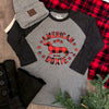 American Doxie Buffalo Plaid 3/4 Sleeve Raglan Tee