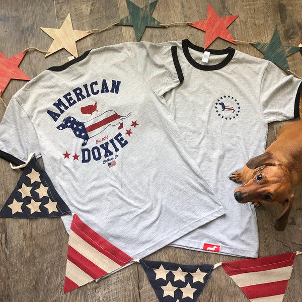 American Doxie Ringer Tee Shirt (Grey)