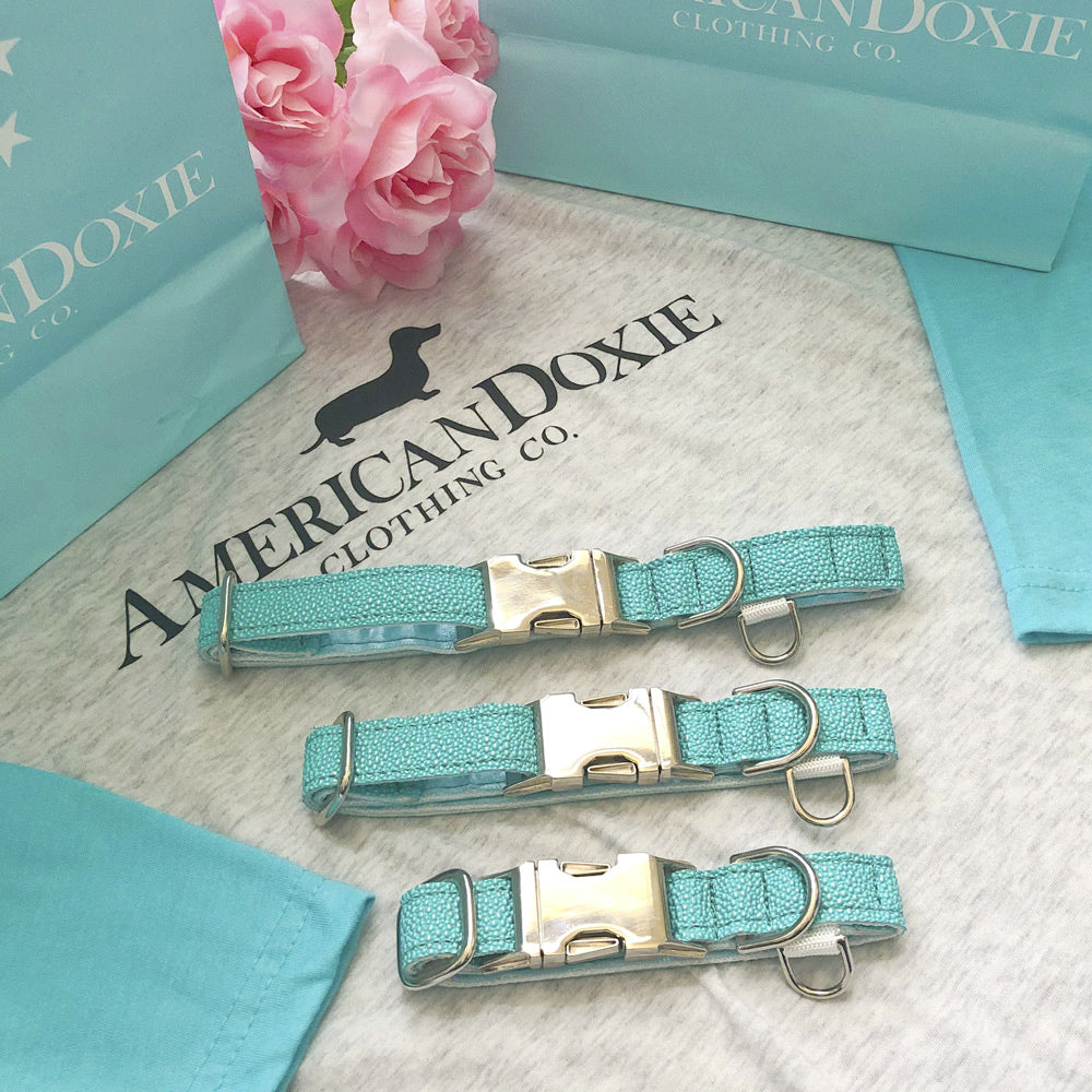 """NEW"" American Doxie Fancy Blue Dog Collars (Limited Quantity)"