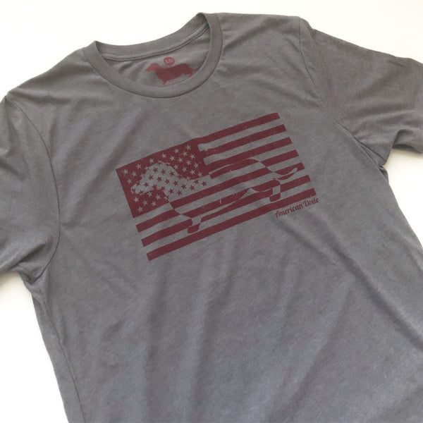 """NEW"" American Doxie 2020 Flag Tee Short Sleeve Tee Shirt (Concrete Grey)"