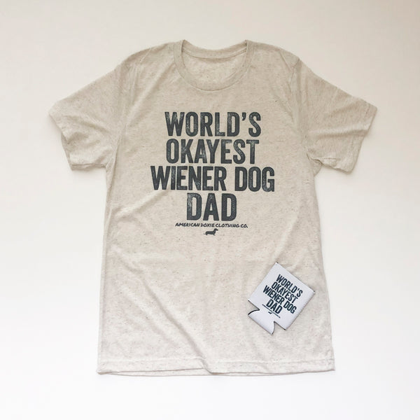 """NEW"" AD Vintage Series: World's Okayest Wiener Dog DAD Tee Shirt"