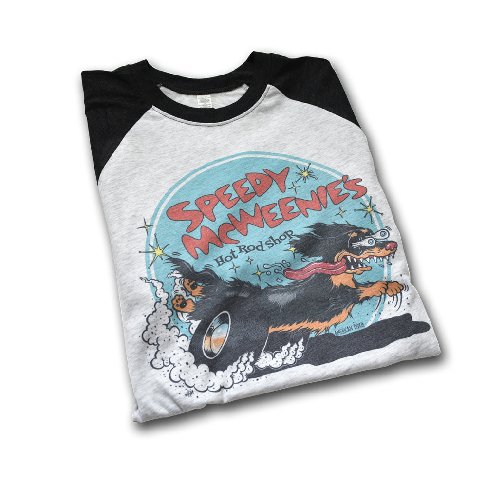 AD Vintage Series: Speedy McWeenie's Hot Rod Shop 3/4 Sleeve Tee (Long Haired - Various Coats)