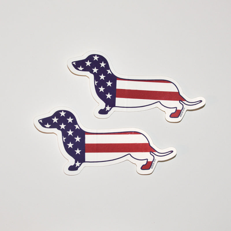 American Doxie Stars & Stripes Dachshund Sticker (2-Pack)