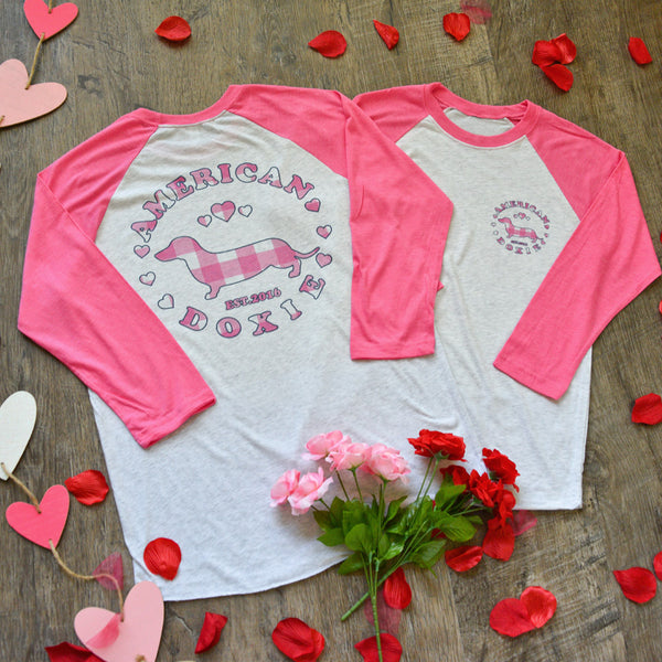 """NEW"" American Doxie Valentine's Day 2021 3/4 Sleeve Raglan Shirt"