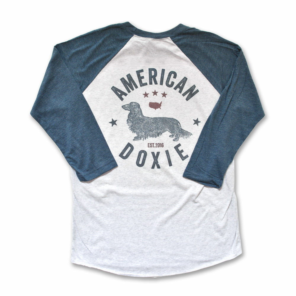 """NEW"" American Doxie Vintage Series: Long Haired Dachshund 3/4 Sleeve Raglan Shirt"