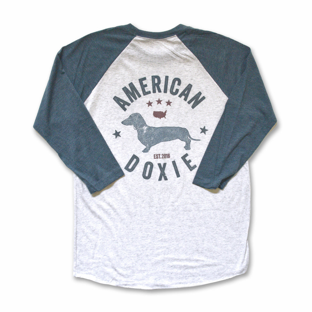 """NEW"" American Doxie Vintage Series: Short Haired Dachshund 3/4 Sleeve Raglan Shirt"