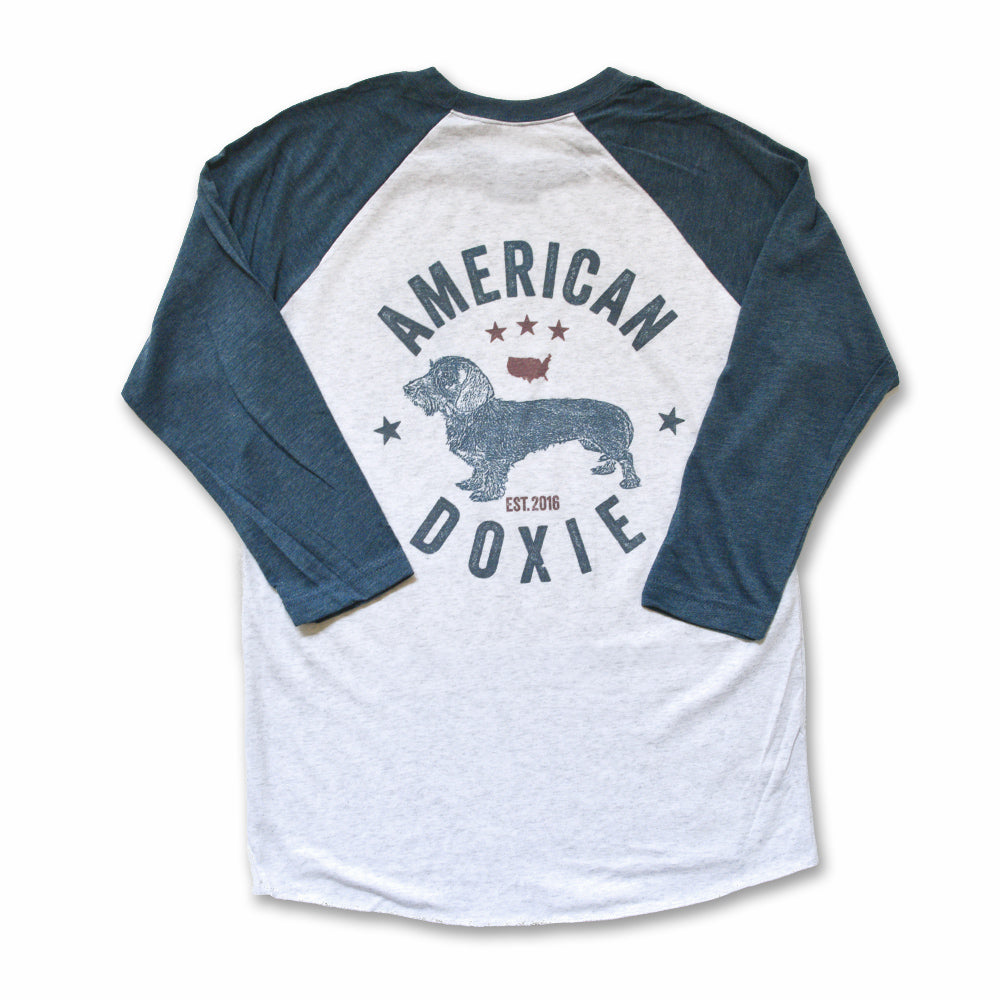 American Doxie Vintage Series: Wire Haired Dachshund 3/4 Sleeve Raglan Shirt