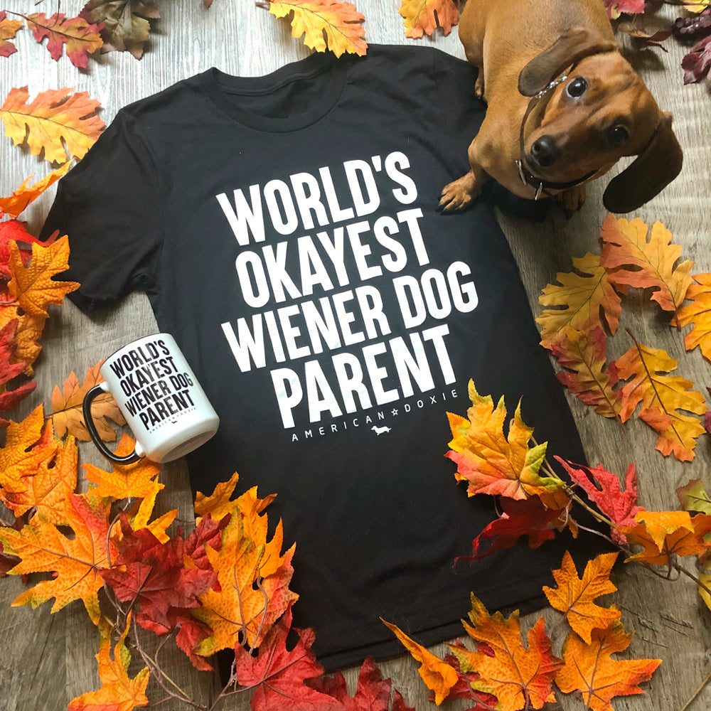 """NEW"" World's Okayest Wiener Dog Parent Tee Shirt"