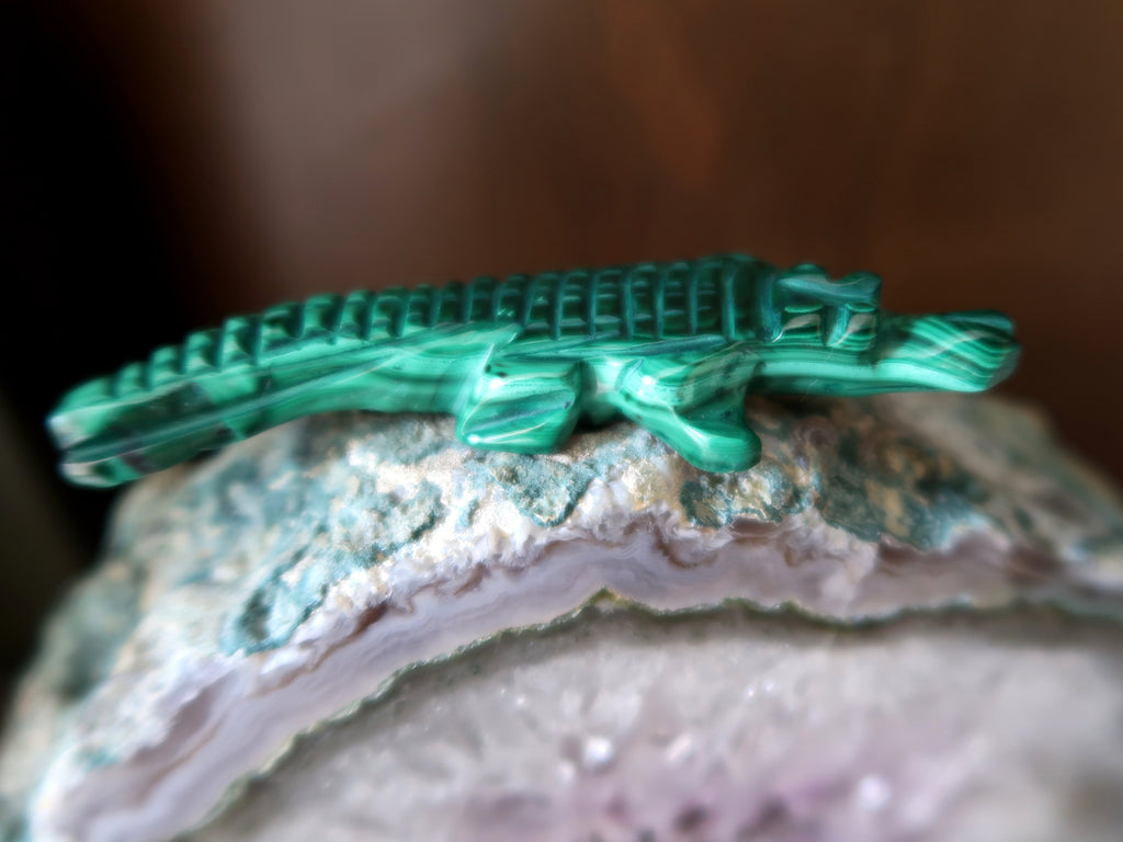 Malachite Alligator on Amethyst Geode