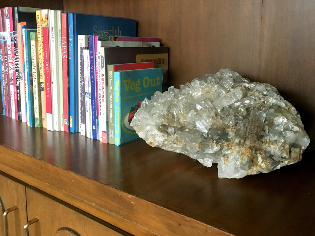 quartz cluster crystal in the home
