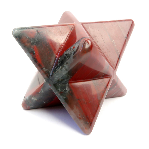 Jasper Merkaba 01 - Red Black Stone Star Crystal Carving (1.5 Inches)