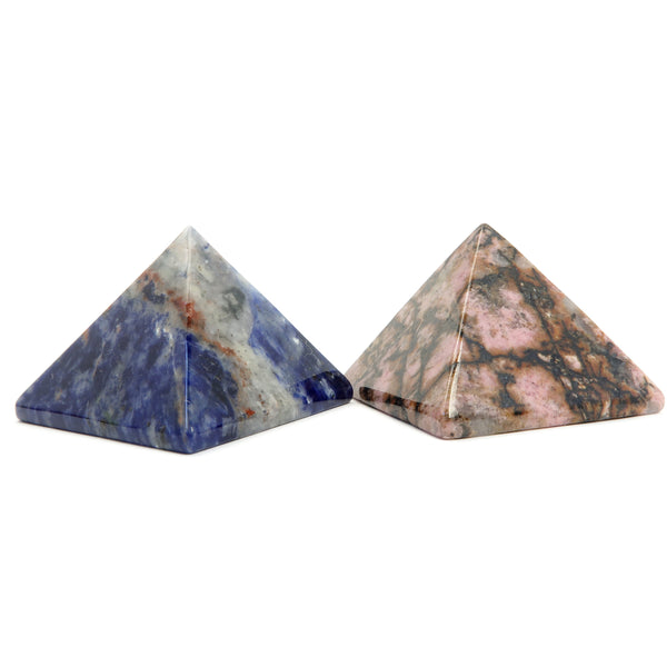 Pyramid Set 02 - Rhodonite & Sodalite Stone Crystal Carving (1.9 Inches)
