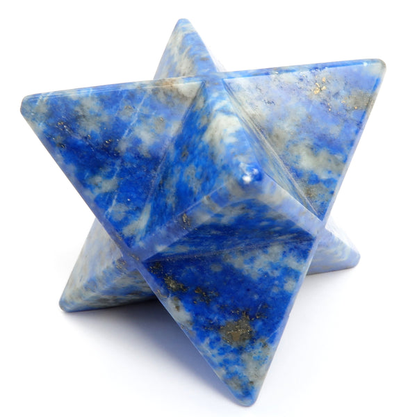 Lapis Merkaba 06 - Genuine Blue Stone Star Crystal Carving (2 Inches)