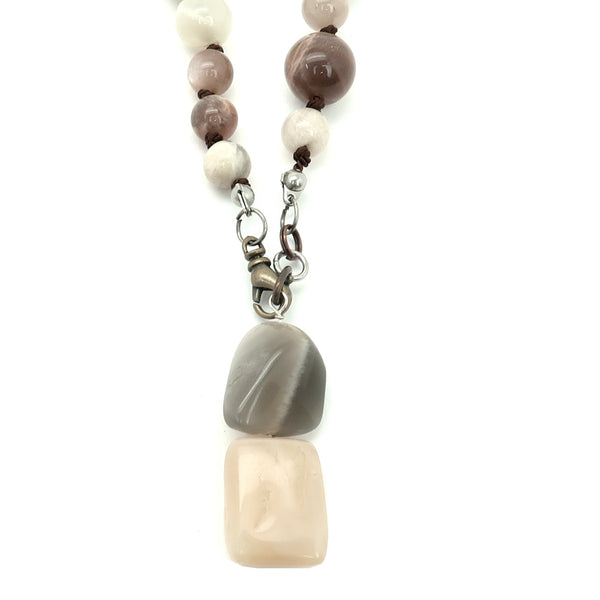 Moonstone Necklace 11 - Knotted Peach Stone Brown Silk