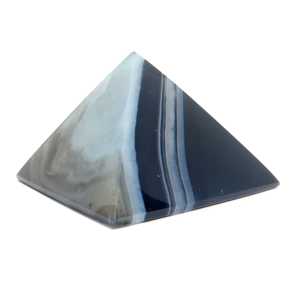 Agate Pyramid 01 - Black White Banded Stone Crystal Carving (2.1 Inches)