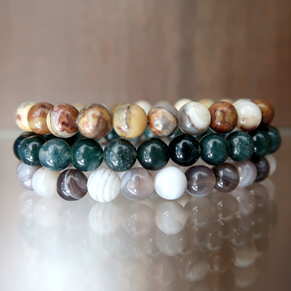Agate Bracelet 11 - Set of 3 Botswana, Moss, Crazy Lace Stretch Trio