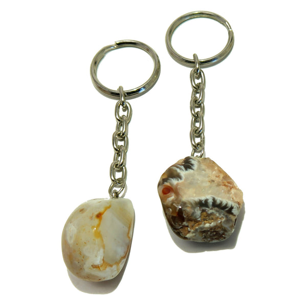 Agate Keychain 04 Set White Red Drusy Smooth Geode Stone Pair