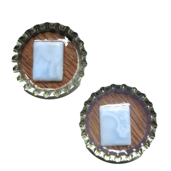 Agate Magnet 01 Blue Lace Stone Set - I Dig Crystals