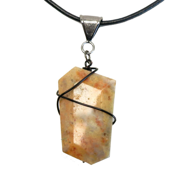 Agate Necklace 43 Yellow Crazy Lace Leather