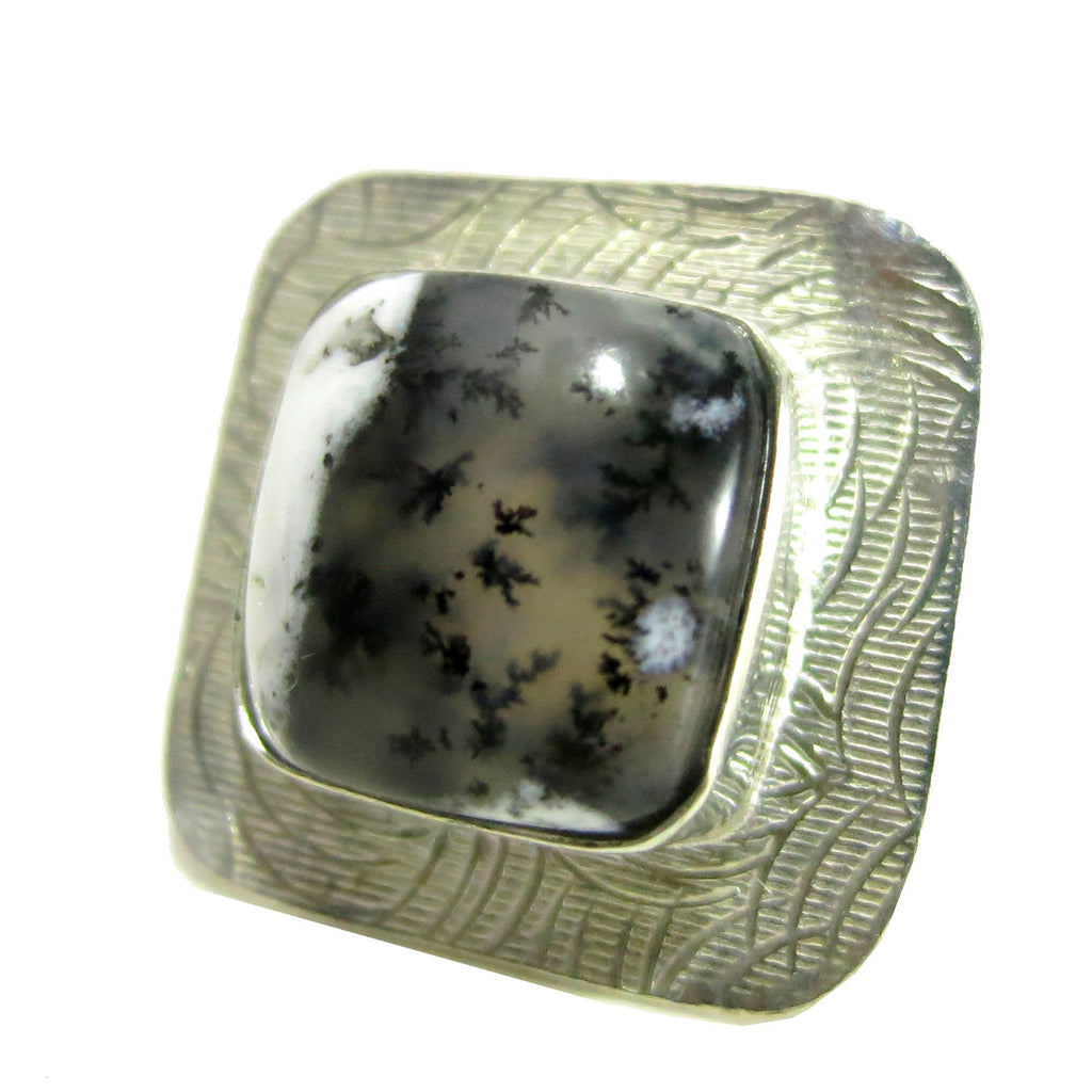 Agate Ring 09 Dendritic Black White Gemstone Hammered Silver - I Dig Crystals
