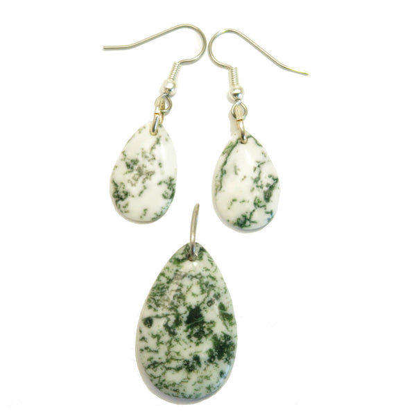 Agate Set 01 Tree White Green Earrings Pendant