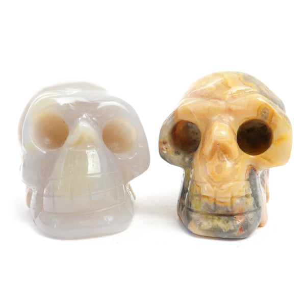 Agate Skull Set 01 - Crazy Lace Yellow White Pair
