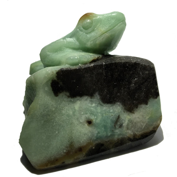 Amazonite Frog 02 Blue Stone Animal Brown Rock Exquisite Carving - I Dig Crystals