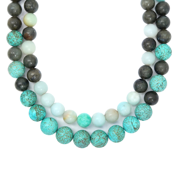 Amazonite Necklace 16 - Labradorite Magnesite Multi-Strand Blue