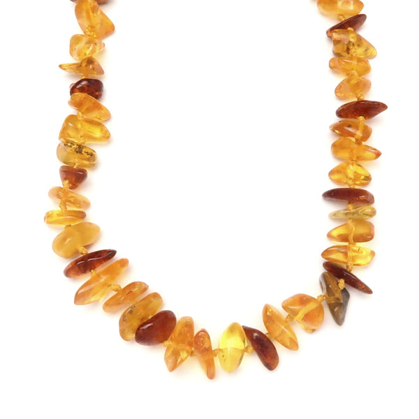 Amber Necklace 03 - Baltic Golden Yellow Knotted Gemstone (18 Inches)