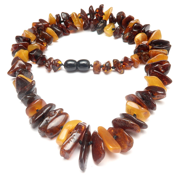 Amber Necklace 04 - Baltic Golden Yellow Knotted Gemstone (21 Inches)