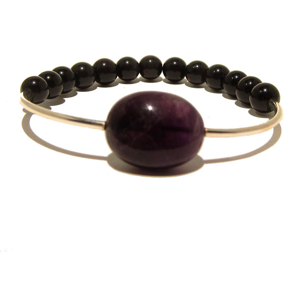 Amethyst Bracelet 14 Stretch Purple Stone Black Rainbow Obsidian - I Dig Crystals