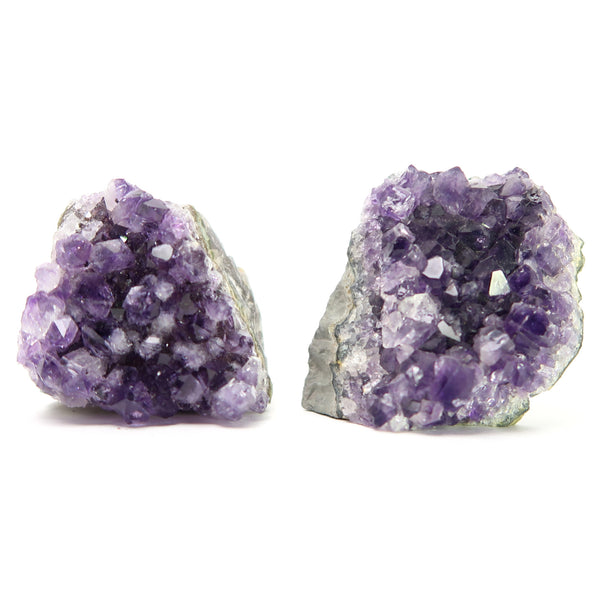 Amethyst Cluster 01 Pair Purple Geode Gemstone Crystal Set