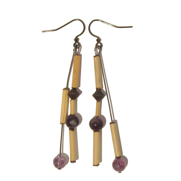 Amethyst Earrings 06 Dangle Purple Stone Bamboo Long - I Dig Crystals