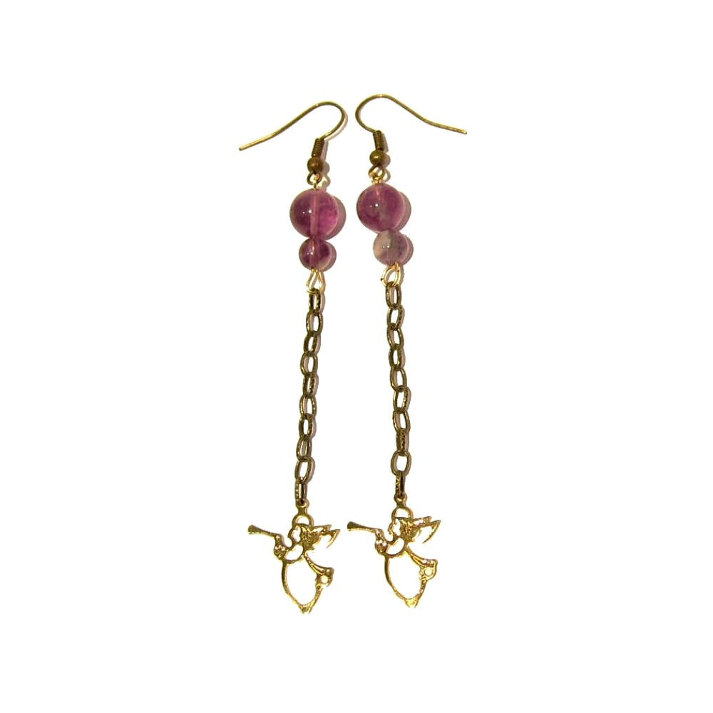 Amethyst Earrings 10 Purple Chevron Gold Angel Trumpet - I Dig Crystals