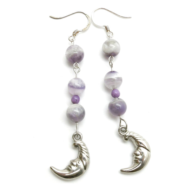 Amethyst Earrings 29 Moon Chevron Purple Stone Sugilite - I Dig Crystals