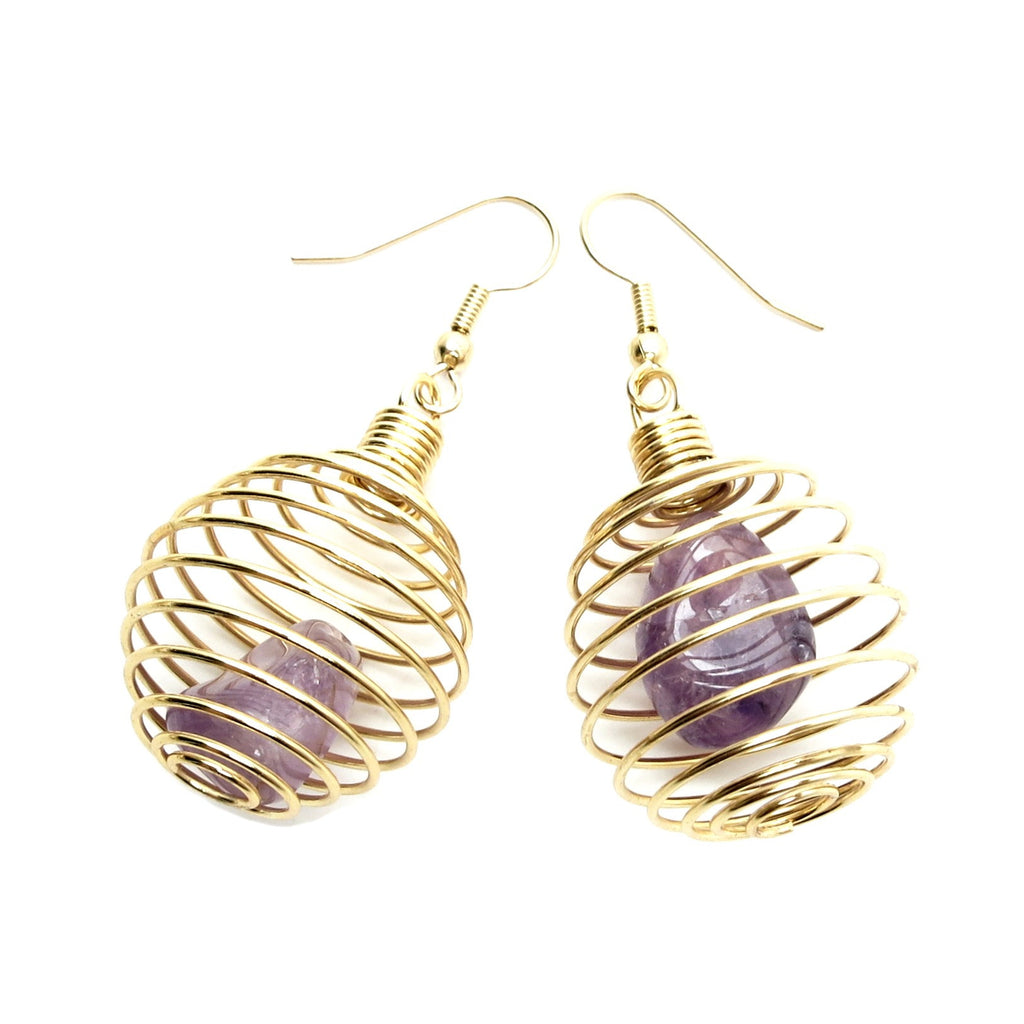Amethyst Earrings 31 Cage Gold Spiral Purple Tumbled Stone - I Dig Crystals